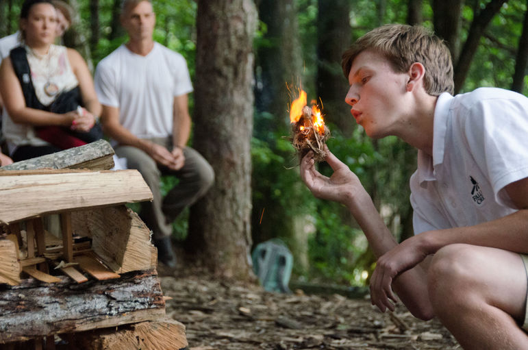 James, who became a Keeper of the Flame last summer, is shown here starting a Sunday evening Campfire from a bow drill method