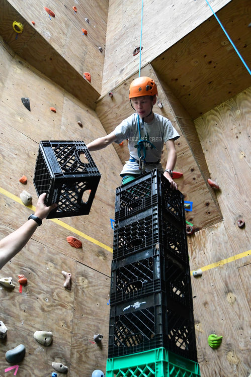 Crate stacking at the Climbing Wall