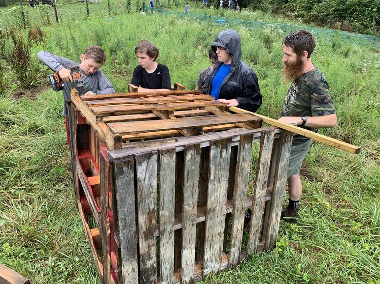Securing Marvin's pallet structure shelter