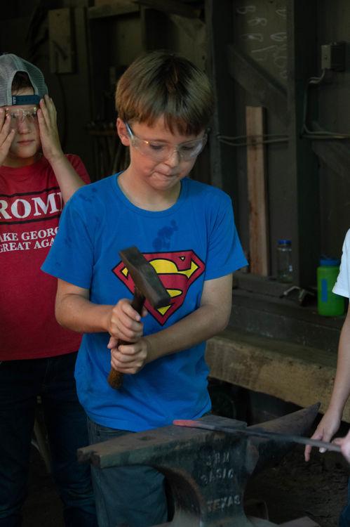 Superhero themed shirt while blacksmithing!