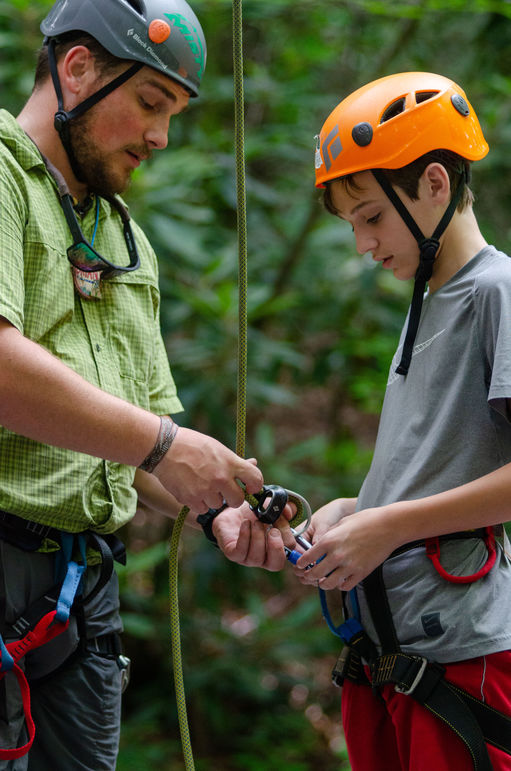 Brian Everette served in the military before attending Appalachian State University, and was completing his internship at Falling Creek this summer as a climbing instructor.