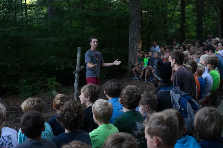 Sam starting off a day at camp by leading one of our Morning Watch sessions