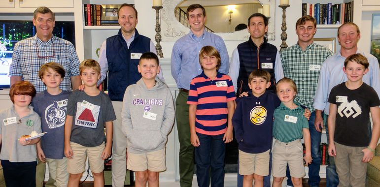 Falling Creek alumni, staff, and dads who have attended father/son weekend, joined the boys in a group photo in Nashville.