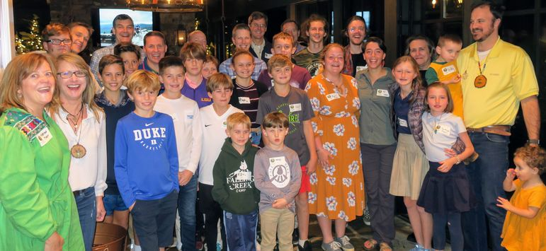 It was a real treat to have so many Falling Creek staff and their families in Asheville, including the Pharr's, Bates', Shelley, Paige, Frank, Natasha, Croft, KC, and Scuba and superstar alumni Goody. Dads who have attended Father/Son weekend also joined in with the boys for a fun group photo.