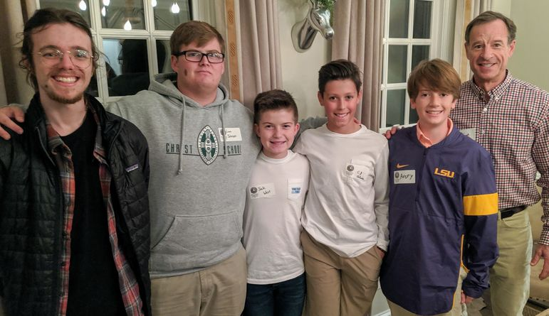 Croft, Larry, Jack, CJ, Avery, and Frank enjoy the opportunity to reconnect. Larry and Avey, both long time FCC campers from New Orleans, attend nearby Christ School, and came to see everyone tonight. Croft is a Sophomore at nearby Brevard College and Jack and his parents hosted us in their home tonight.